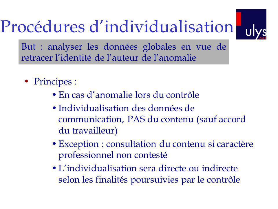 Procédures dindividualisation Principes : En cas danomalie lors du contrôle Individualisation des données de communication, PAS du contenu (sauf accor