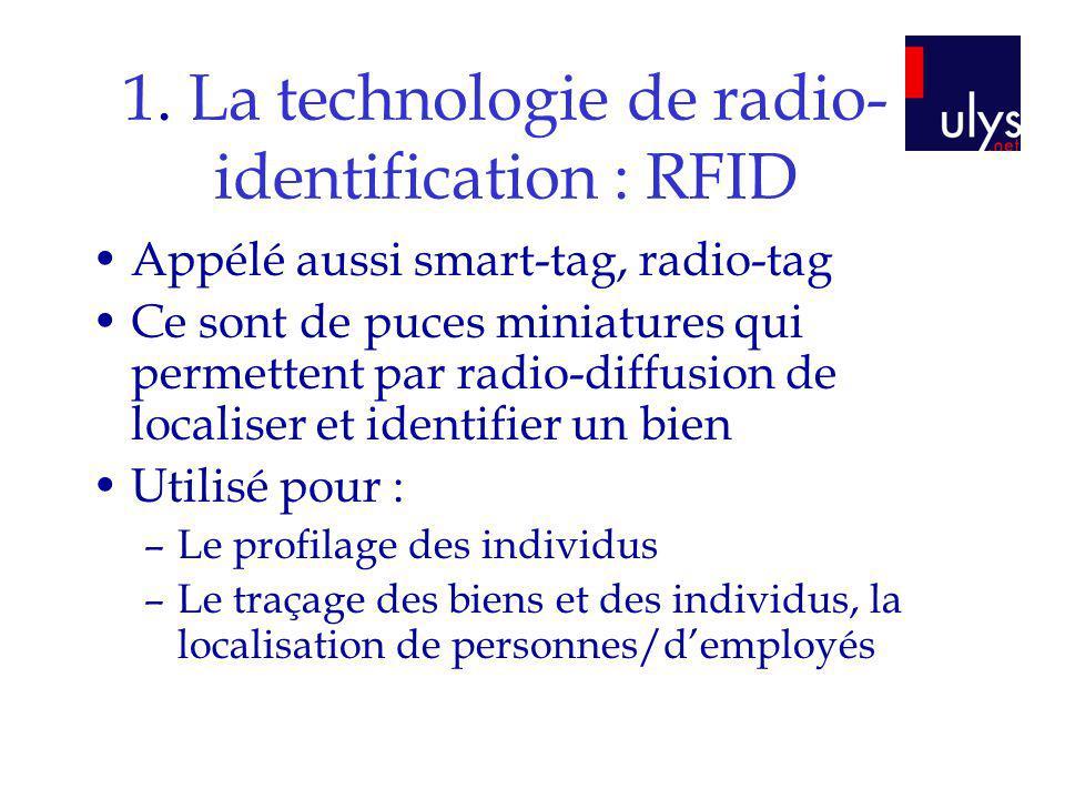 1. La technologie de radio- identification : RFID Appélé aussi smart-tag, radio-tag Ce sont de puces miniatures qui permettent par radio-diffusion de