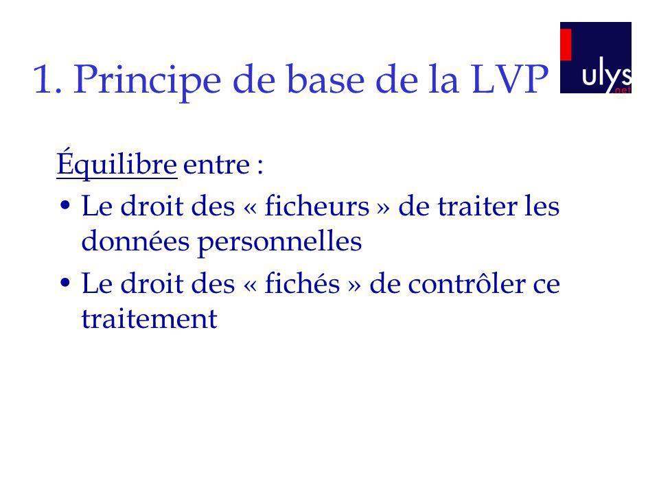 1. Principe de base de la LVP Équilibre entre : Le droit des « ficheurs » de traiter les données personnelles Le droit des « fichés » de contrôler ce