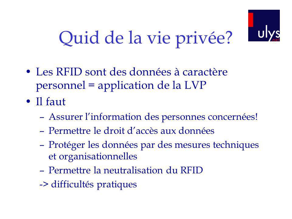 Quid de la vie privée? Les RFID sont des données à caractère personnel = application de la LVP Il faut –Assurer linformation des personnes concernées!