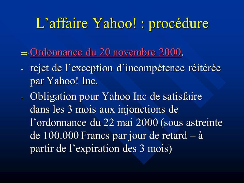 Laffaire Yahoo. : procédure Ordonnance du 20 novembre 2000.