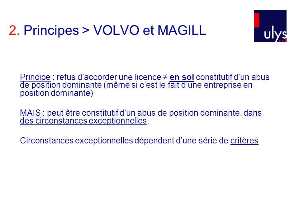 2. Principes > VOLVO et MAGILL Principe : refus daccorder une licence en soi constitutif dun abus de position dominante (même si cest le fait dune ent