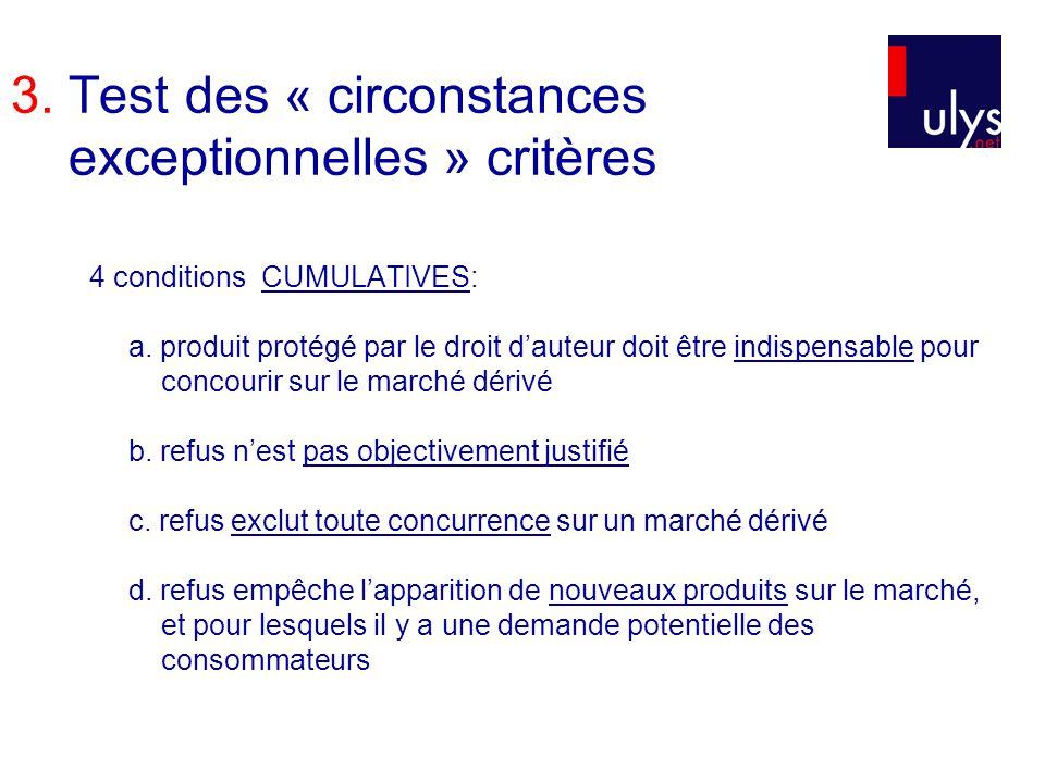 3. Test des « circonstances exceptionnelles » critères 4 conditions CUMULATIVES: a. produit protégé par le droit dauteur doit être indispensable pour