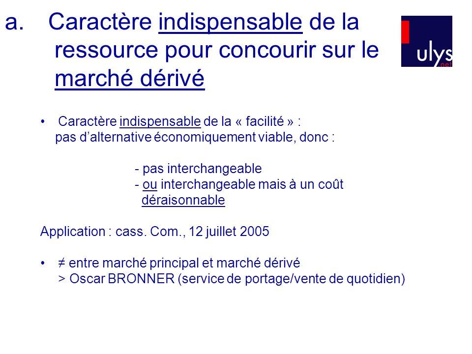 a.Caractère indispensable de la ressource pour concourir sur le marché dérivé Caractère indispensable de la « facilité » : pas dalternative économique