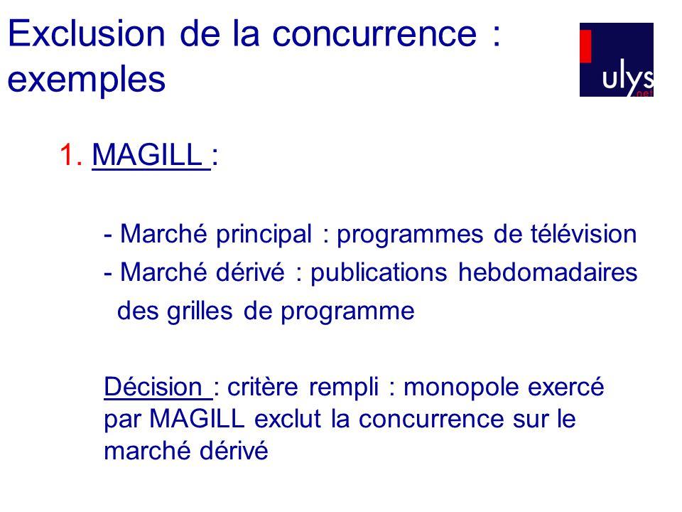 Exclusion de la concurrence : exemples 1. MAGILL : - Marché principal : programmes de télévision - Marché dérivé : publications hebdomadaires des gril