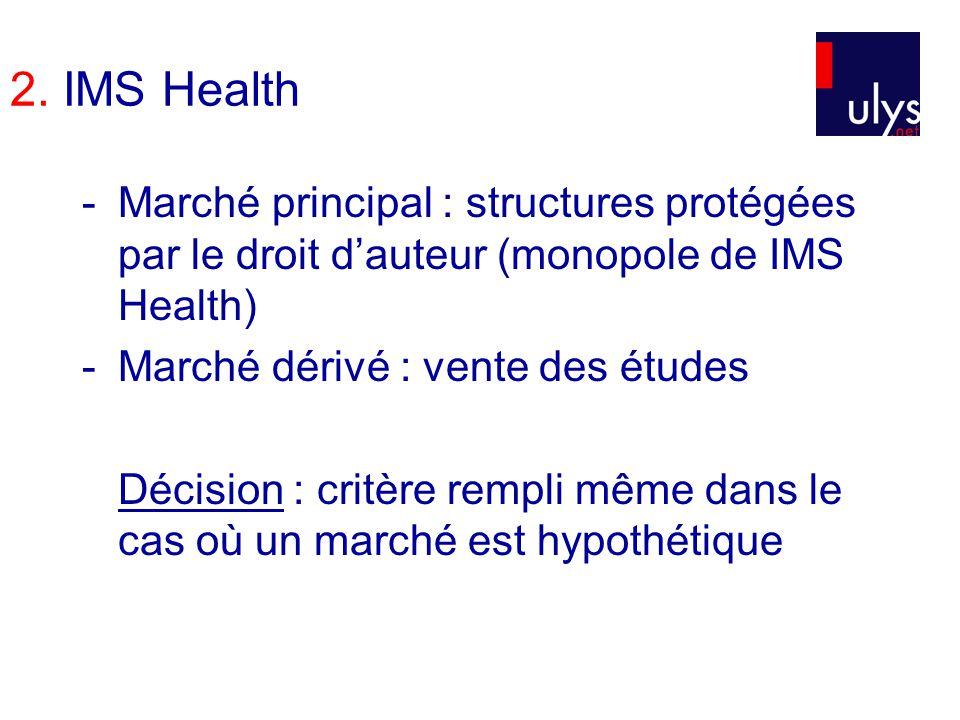 2. IMS Health -Marché principal : structures protégées par le droit dauteur (monopole de IMS Health) -Marché dérivé : vente des études Décision : crit
