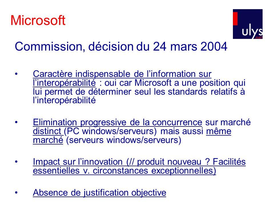 Microsoft Commission, décision du 24 mars 2004 Caractère indispensable de linformation sur linteropérabilité : oui car Microsoft a une position qui lu