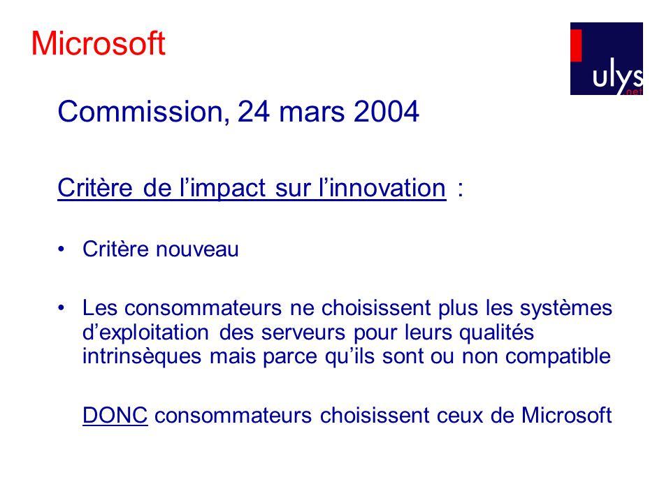 Microsoft Commission, 24 mars 2004 Critère de limpact sur linnovation : Critère nouveau Les consommateurs ne choisissent plus les systèmes dexploitation des serveurs pour leurs qualités intrinsèques mais parce quils sont ou non compatible DONC consommateurs choisissent ceux de Microsoft