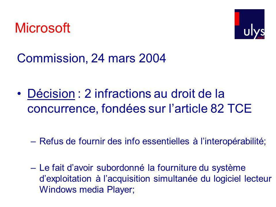 Microsoft Commission, 24 mars 2004 Décision : 2 infractions au droit de la concurrence, fondées sur larticle 82 TCE –Refus de fournir des info essentielles à linteropérabilité; –Le fait davoir subordonné la fourniture du système dexploitation à lacquisition simultanée du logiciel lecteur Windows media Player;