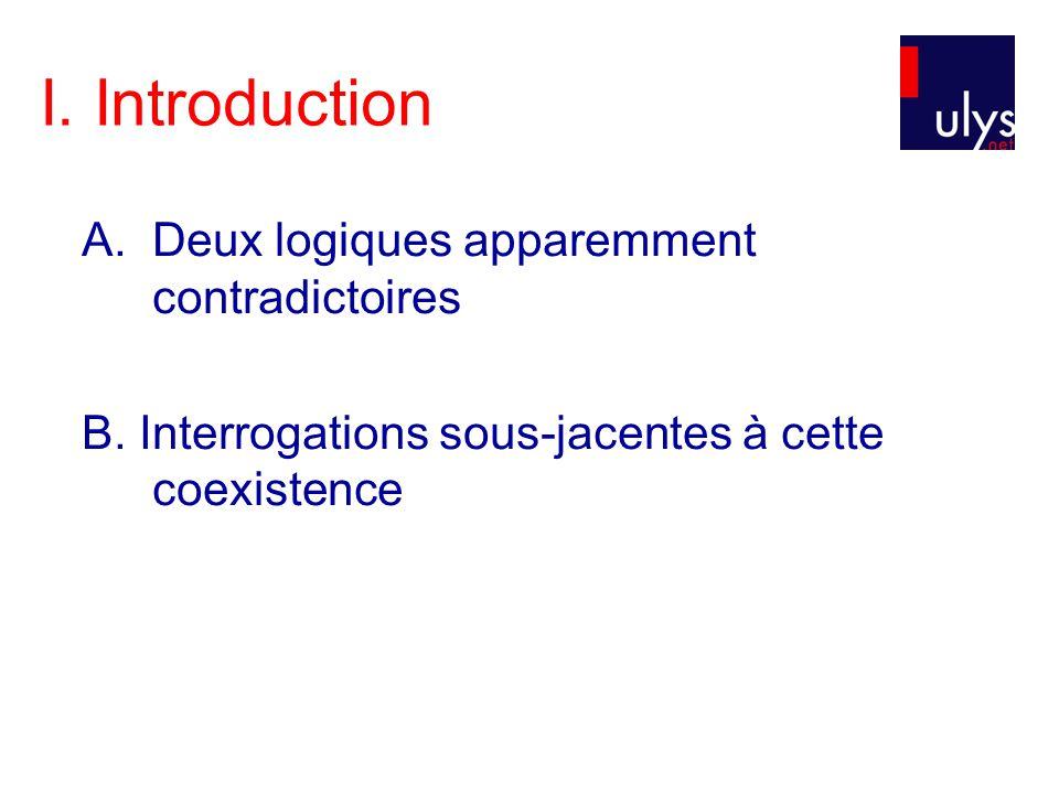 I. Introduction A.Deux logiques apparemment contradictoires B. Interrogations sous-jacentes à cette coexistence