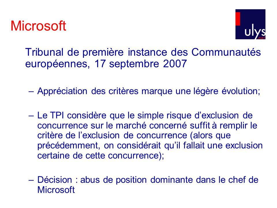 Microsoft Tribunal de première instance des Communautés européennes, 17 septembre 2007 –Appréciation des critères marque une légère évolution; –Le TPI