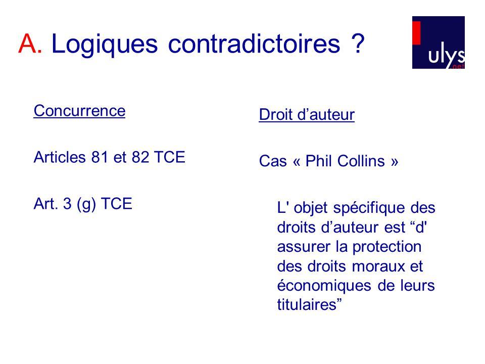 A. Logiques contradictoires ? Concurrence Articles 81 et 82 TCE Art. 3 (g) TCE Droit dauteur Cas « Phil Collins » L' objet spécifique des droits daute