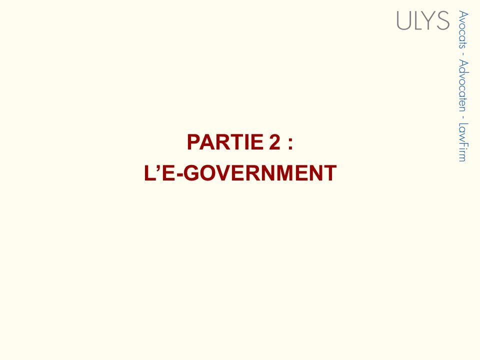 PARTIE 2 : LE-GOVERNMENT