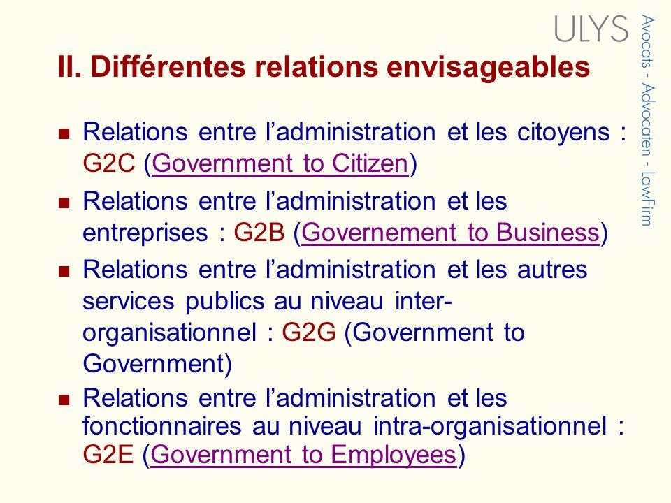 II. Différentes relations envisageables Relations entre ladministration et les citoyens : G2C (Government to Citizen)Government to Citizen Relations e