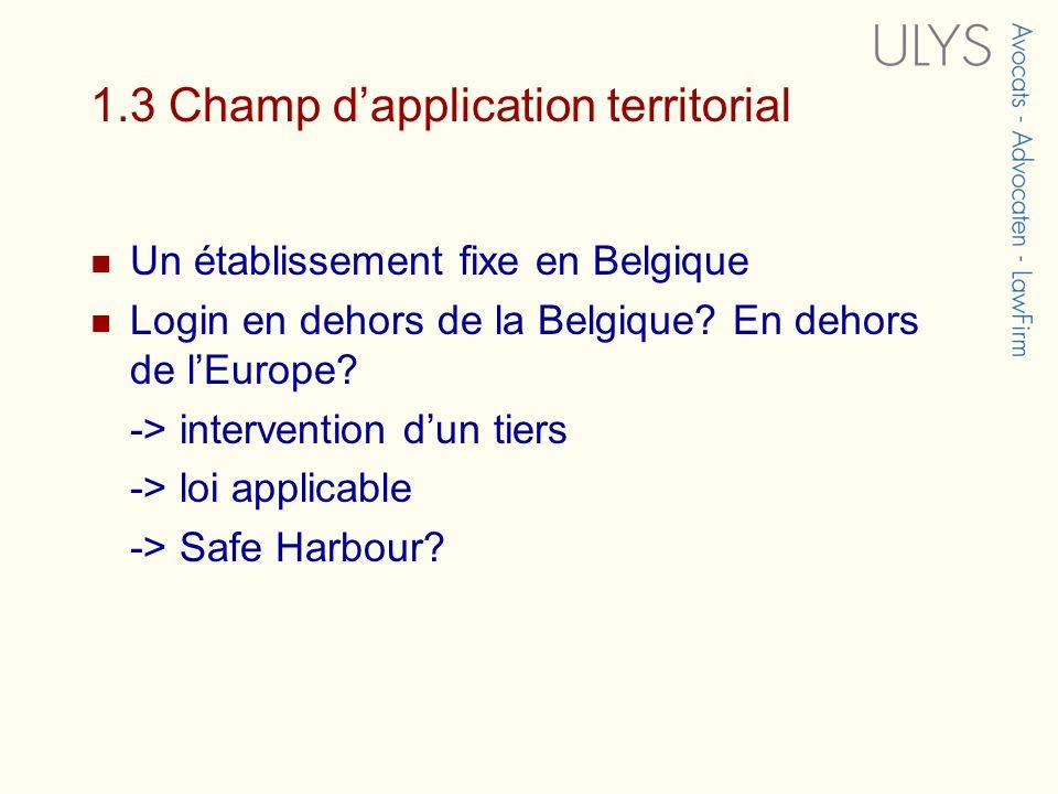 1.3 Champ dapplication territorial Un établissement fixe en Belgique Login en dehors de la Belgique.