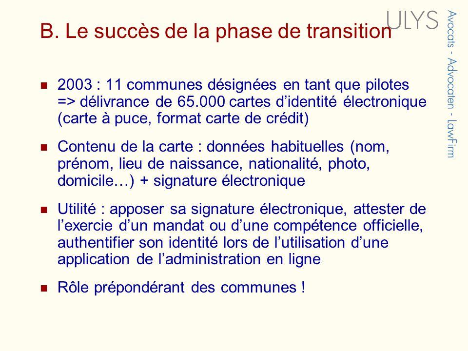 B. Le succès de la phase de transition 2003 : 11 communes désignées en tant que pilotes => délivrance de 65.000 cartes didentité électronique (carte à