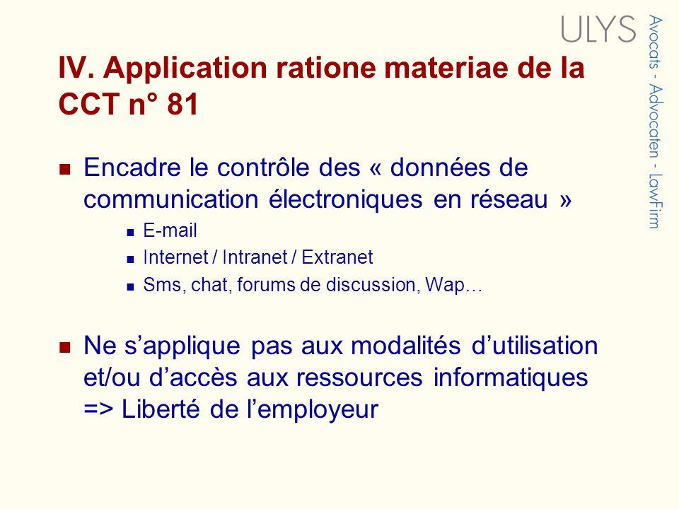 IV. Application ratione materiae de la CCT n° 81 Encadre le contrôle des « données de communication électroniques en réseau » E-mail Internet / Intran