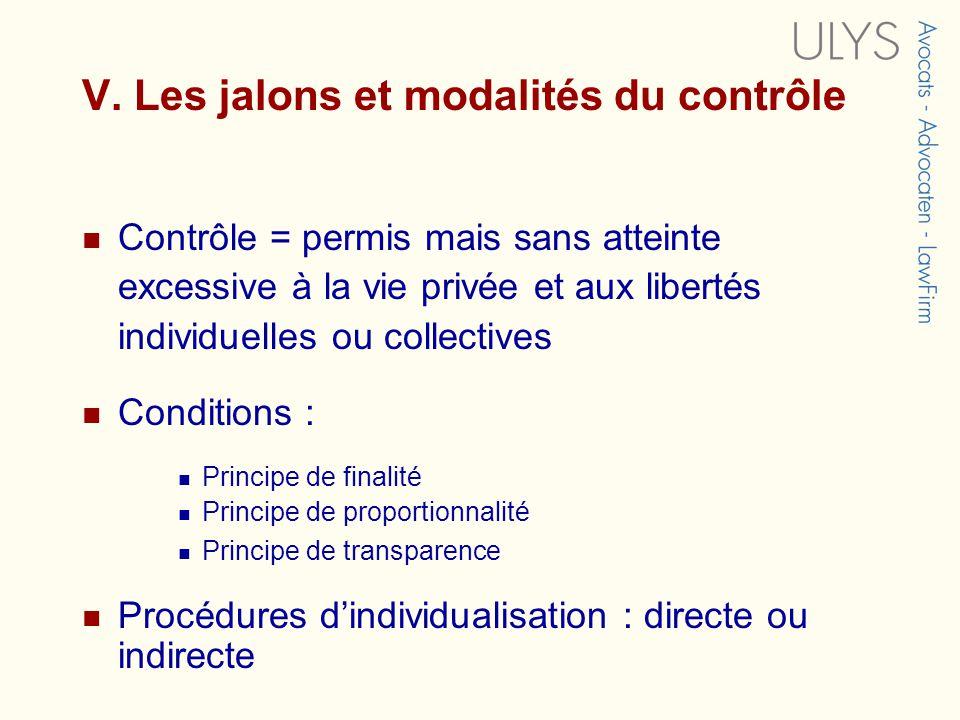 V. Les jalons et modalités du contrôle Contrôle = permis mais sans atteinte excessive à la vie privée et aux libertés individuelles ou collectives Con