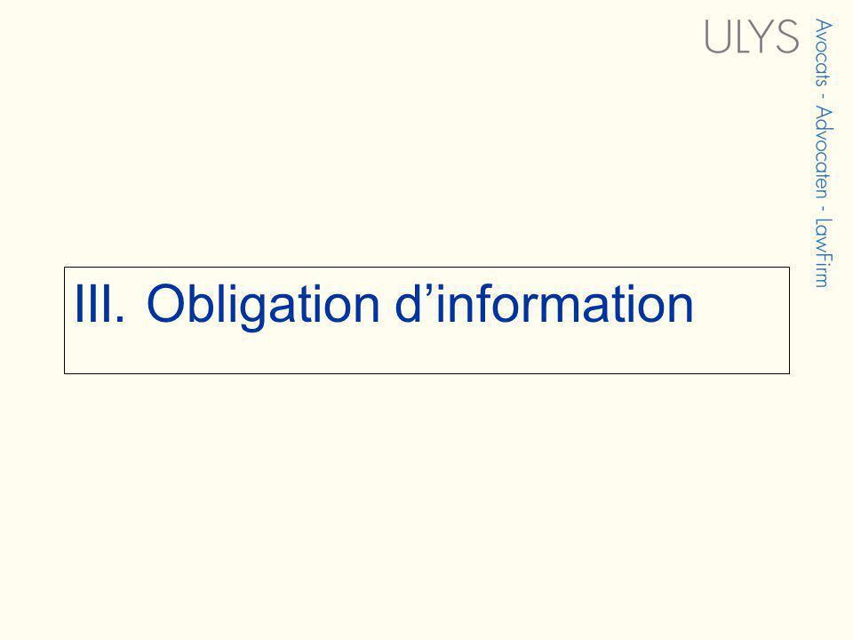 III. Obligation dinformation