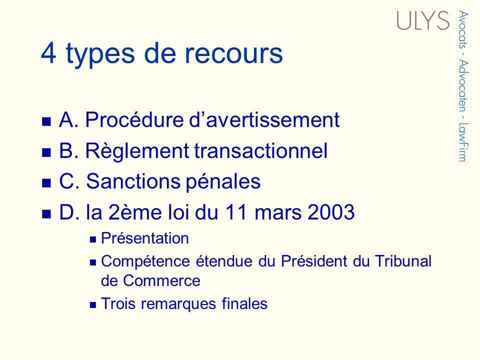 4 types de recours A. Procédure davertissement B. Règlement transactionnel C. Sanctions pénales D. la 2ème loi du 11 mars 2003 Présentation Compétence