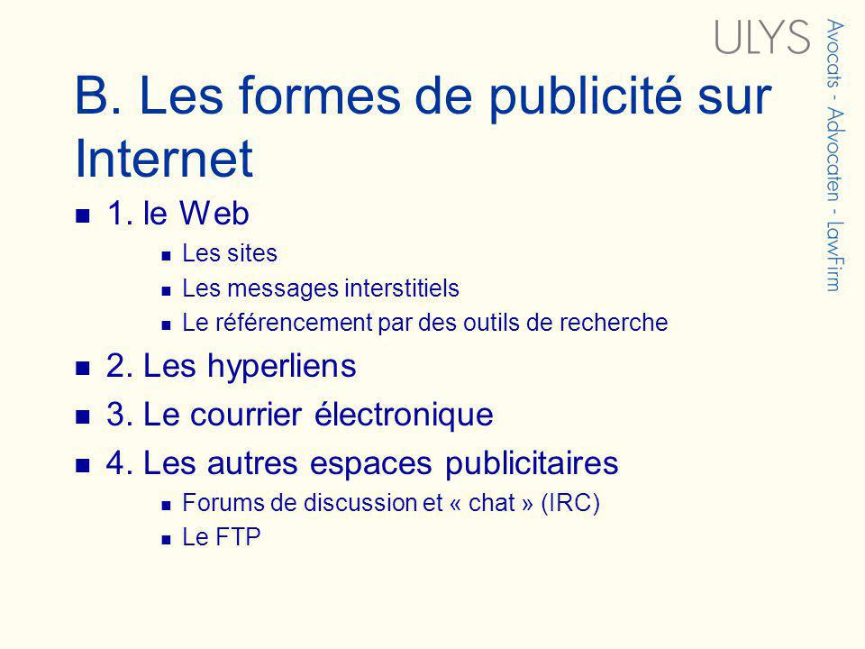 B. Les formes de publicité sur Internet 1.