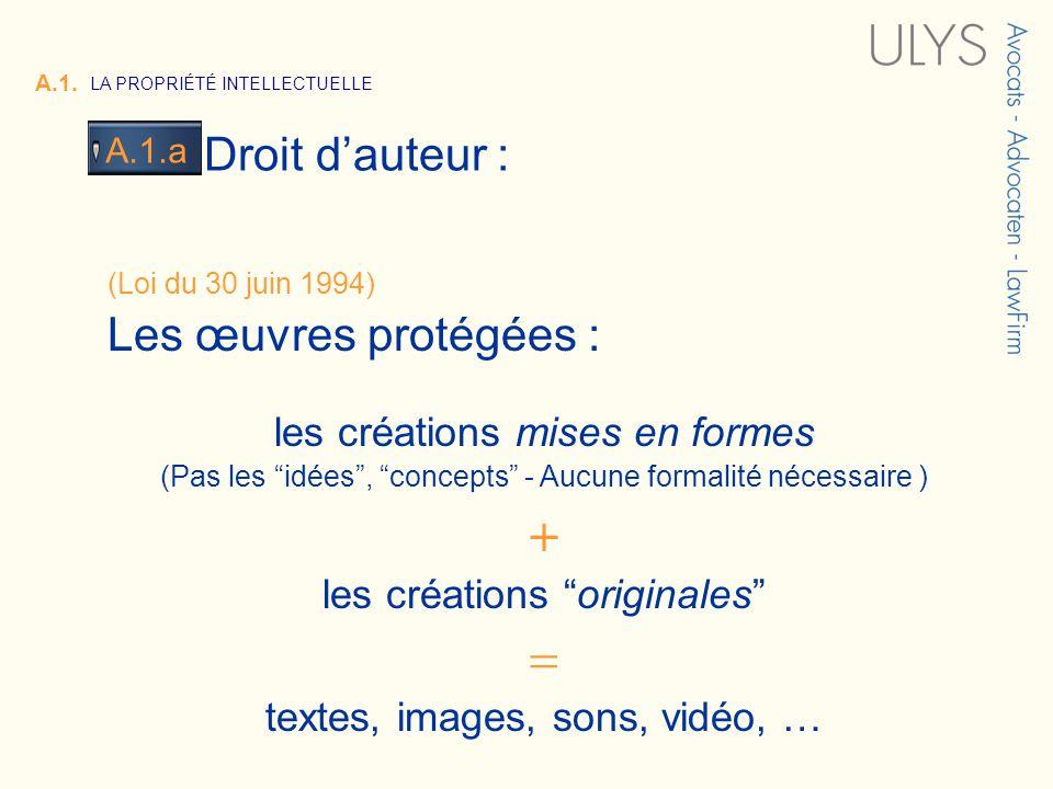 3 TITRE Droit dauteur : A.1.a A.1. LA PROPRIÉTÉ INTELLECTUELLE (Loi du 30 juin 1994) Les œuvres protégées : les créations mises en formes (Pas les idé