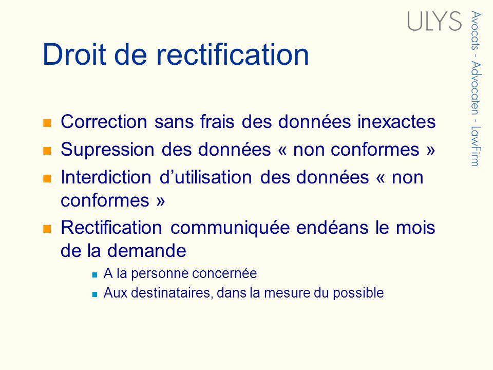 Droit de rectification Correction sans frais des données inexactes Supression des données « non conformes » Interdiction dutilisation des données « no