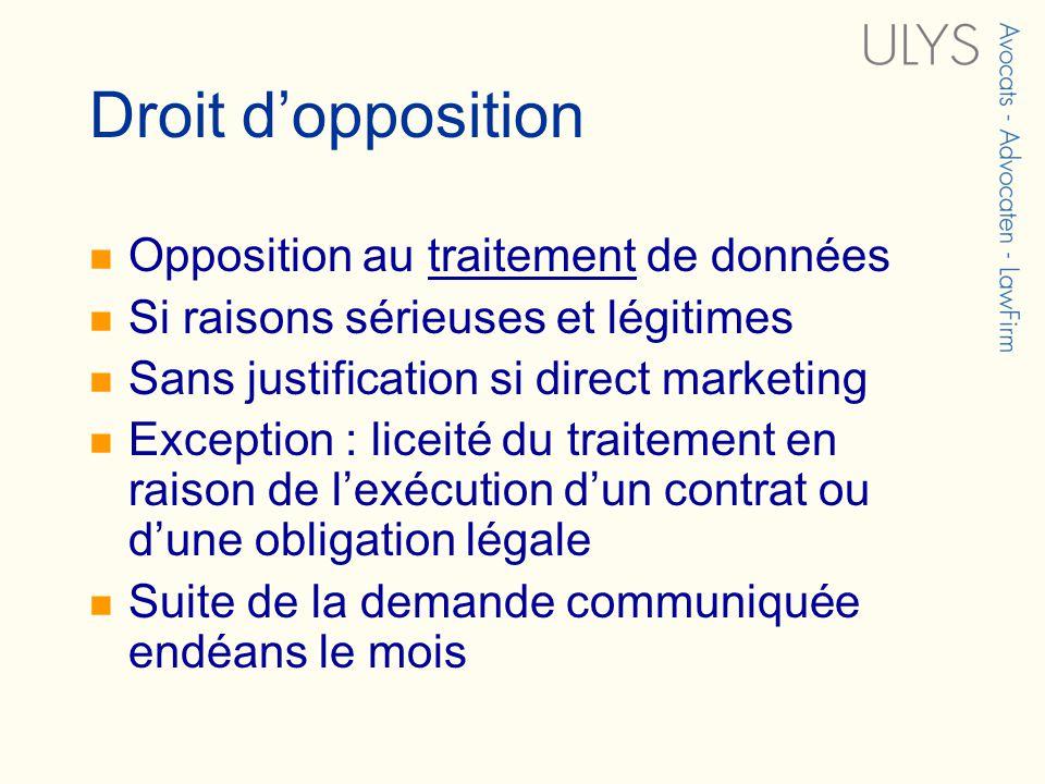 Droit dopposition Opposition au traitement de données Si raisons sérieuses et légitimes Sans justification si direct marketing Exception : liceité du