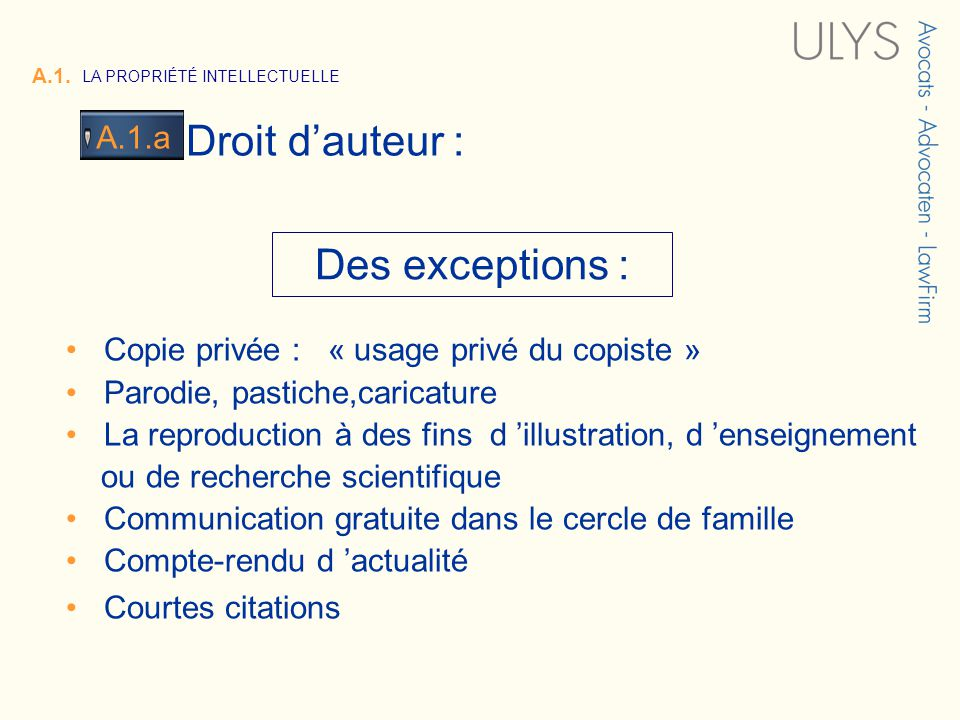 3 TITRE Des exceptions : Copie privée : « usage privé du copiste » Parodie, pastiche,caricature La reproduction à des fins d illustration, d enseignem