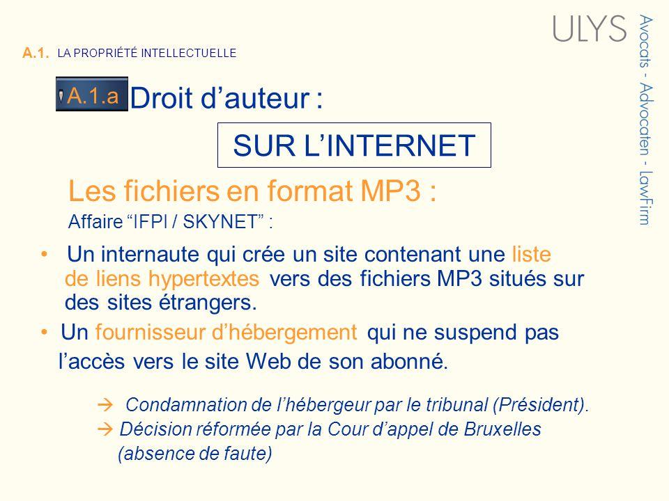 3 TITRE SUR LINTERNET Les fichiers en format MP3 : Affaire IFPI / SKYNET : Un internaute qui crée un site contenant une liste de liens hypertextes vers des fichiers MP3 situés sur des sites étrangers.