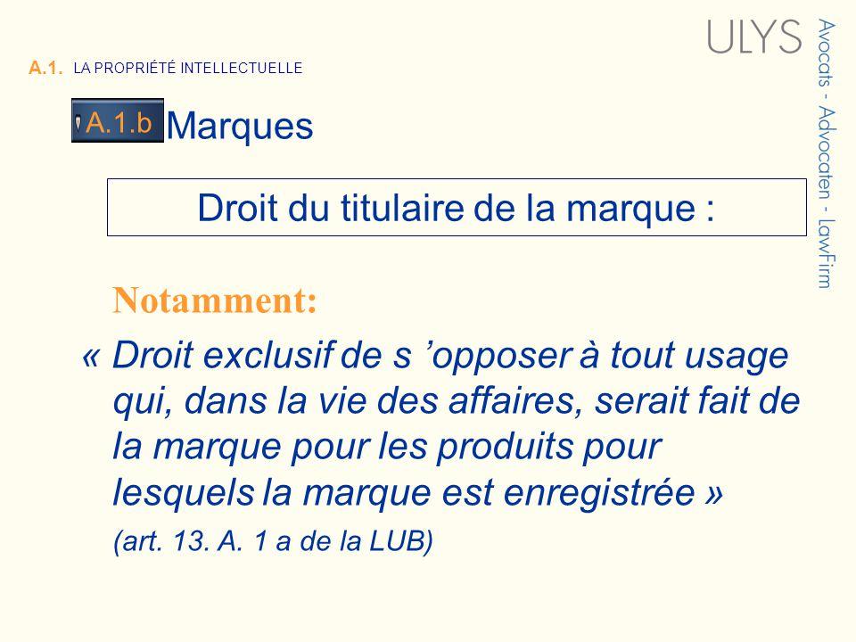 3 TITRE A.1. LA PROPRIÉTÉ INTELLECTUELLE Marques A.1.b Droit du titulaire de la marque : Notamment: « Droit exclusif de s opposer à tout usage qui, da