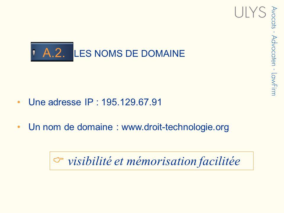 3 TITRE LES NOMS DE DOMAINE A.2. Une adresse IP : 195.129.67.91 Un nom de domaine : www.droit-technologie.org visibilité et mémorisation facilitée