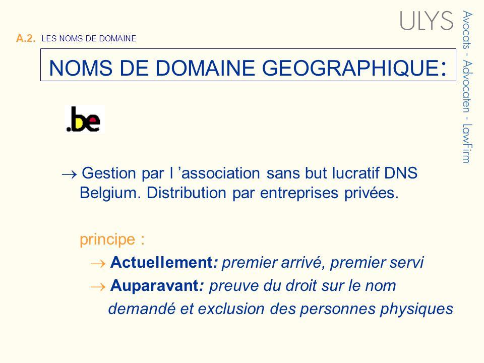 Gestion par l association sans but lucratif DNS Belgium. Distribution par entreprises privées. principe : Actuellement: premier arrivé, premier servi