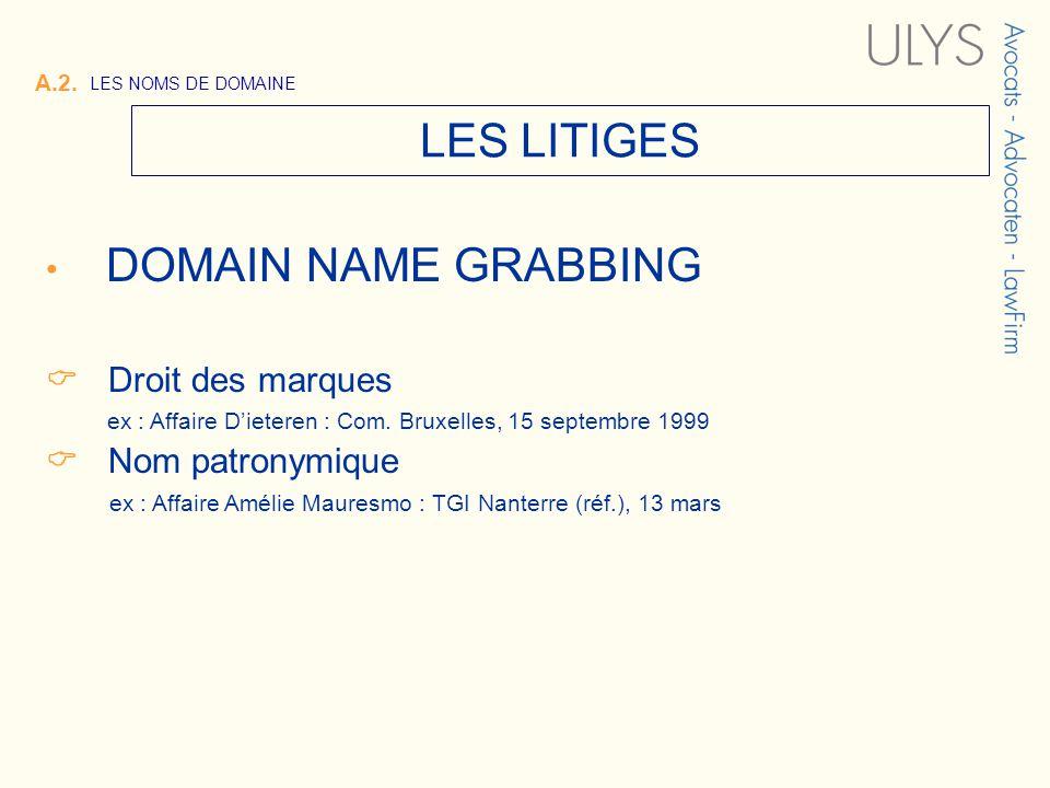A.2. LES NOMS DE DOMAINE LES LITIGES DOMAIN NAME GRABBING Droit des marques ex : Affaire Dieteren : Com. Bruxelles, 15 septembre 1999 Nom patronymique