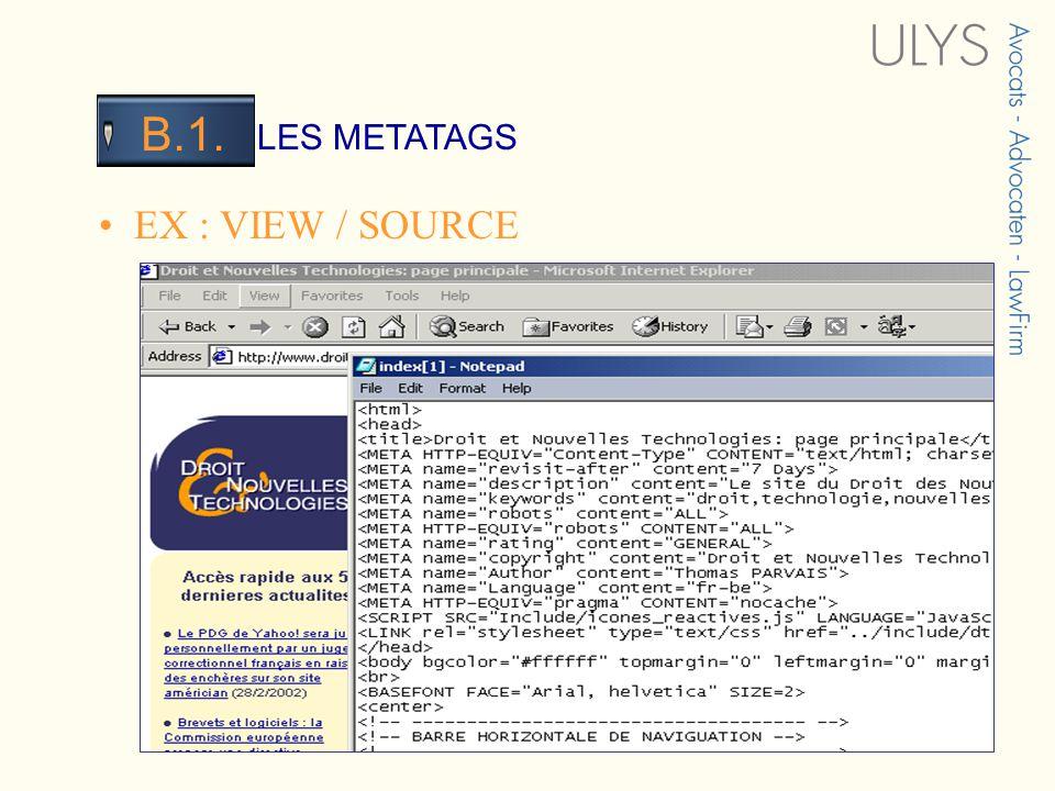 3 TITRE LES METATAGS B.1. EX : VIEW / SOURCE