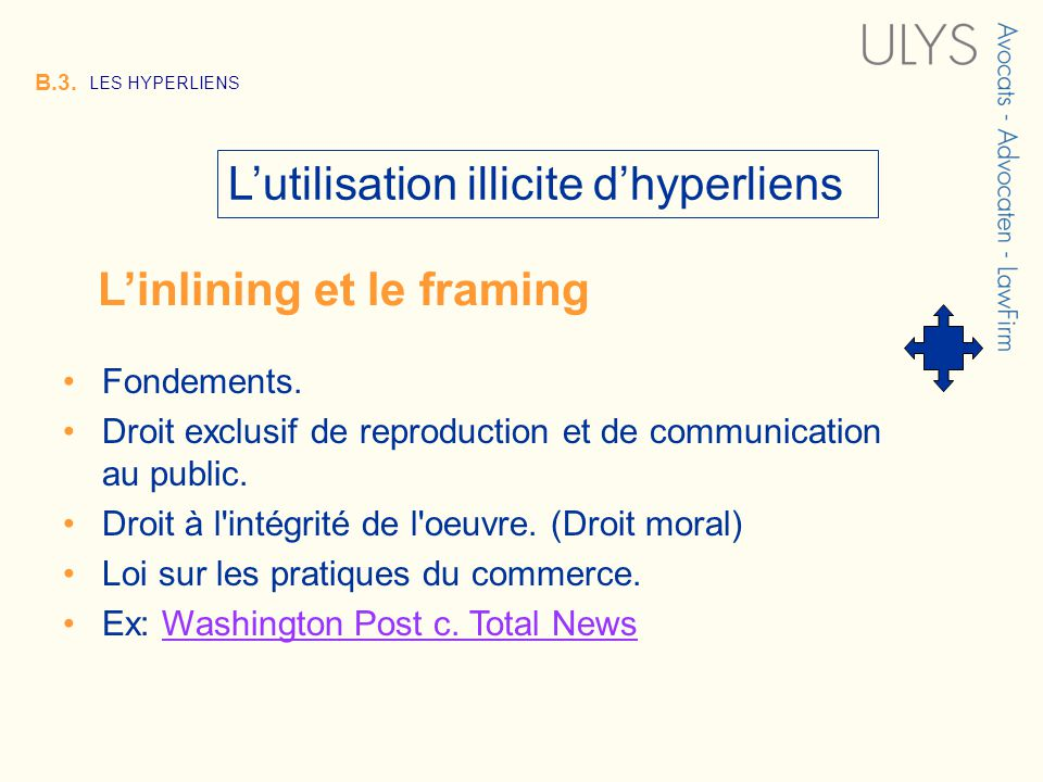 3 TITRE B.3. LES HYPERLIENS Lutilisation illicite dhyperliens Fondements. Droit exclusif de reproduction et de communication au public. Droit à l'inté