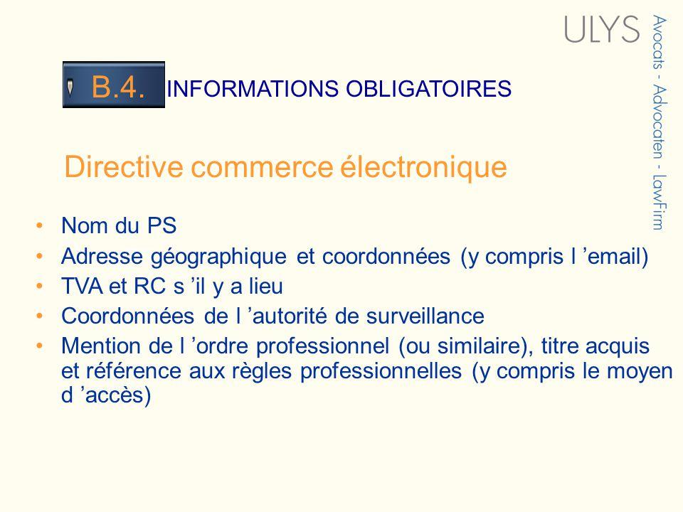 3 TITRE INFORMATIONS OBLIGATOIRES B.4.