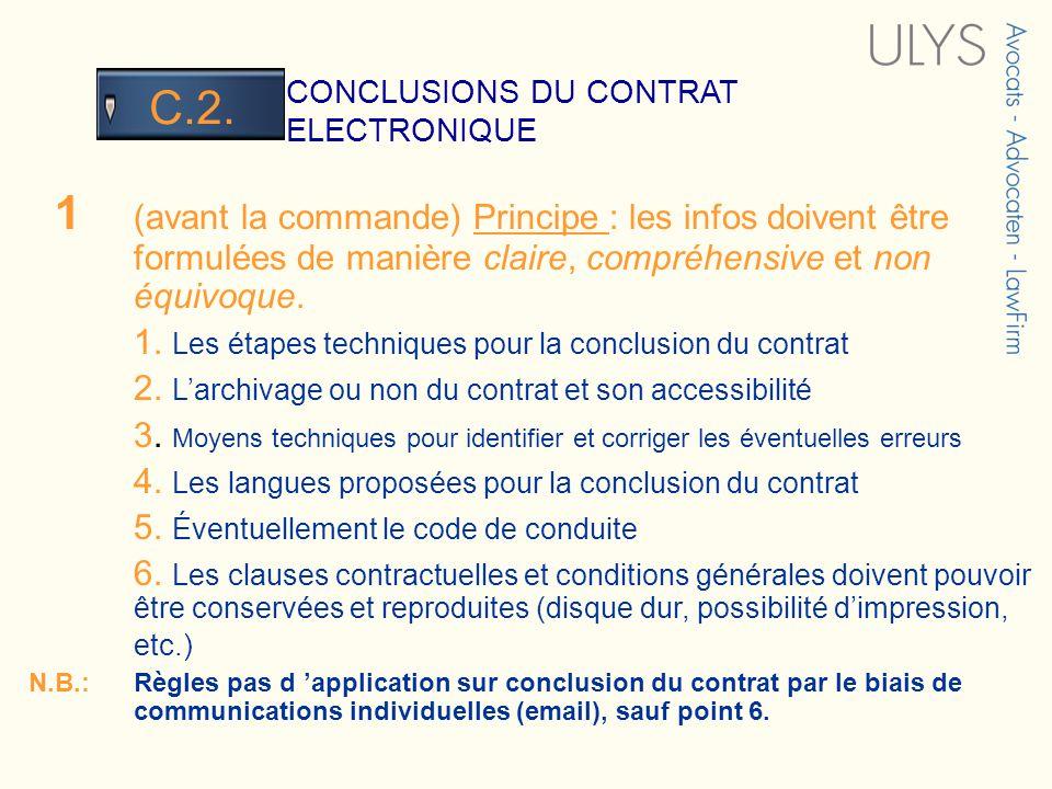 3 TITRE CONCLUSIONS DU CONTRAT ELECTRONIQUE C.2. 1 (avant la commande) Principe : les infos doivent être formulées de manière claire, compréhensive et