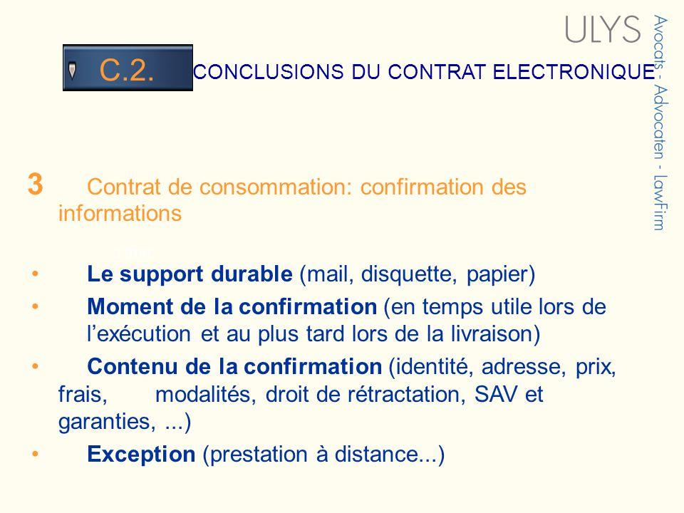 3 TITRE CONCLUSIONS DU CONTRAT ELECTRONIQUE C.2. 3 Contrat de consommation: confirmation des informations Le support durable (mail, disquette, papier)