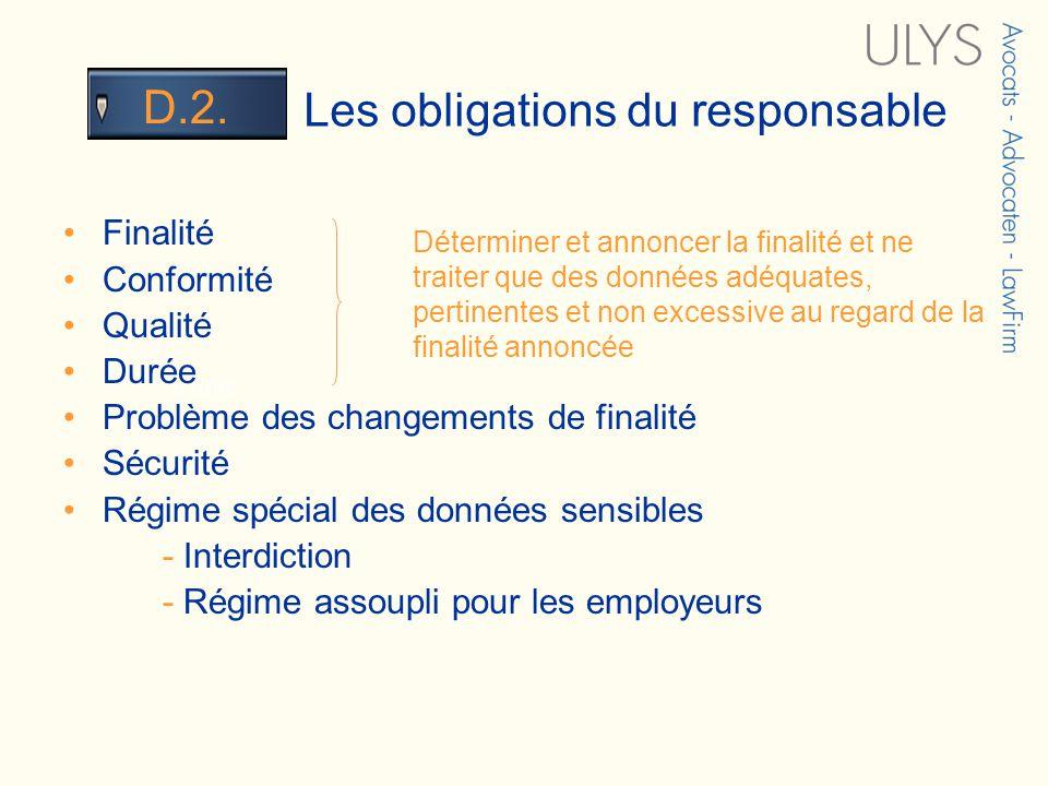 3 TITRE Les obligations du responsable D.2. Finalité Conformité Qualité Durée Problème des changements de finalité Sécurité Régime spécial des données