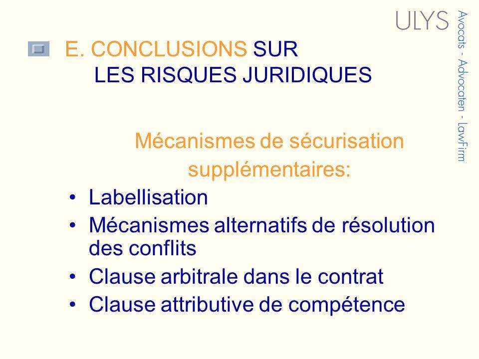 E. CONCLUSIONS SUR LES RISQUES JURIDIQUES 3 TITRE Mécanismes de sécurisation supplémentaires: Labellisation Mécanismes alternatifs de résolution des c