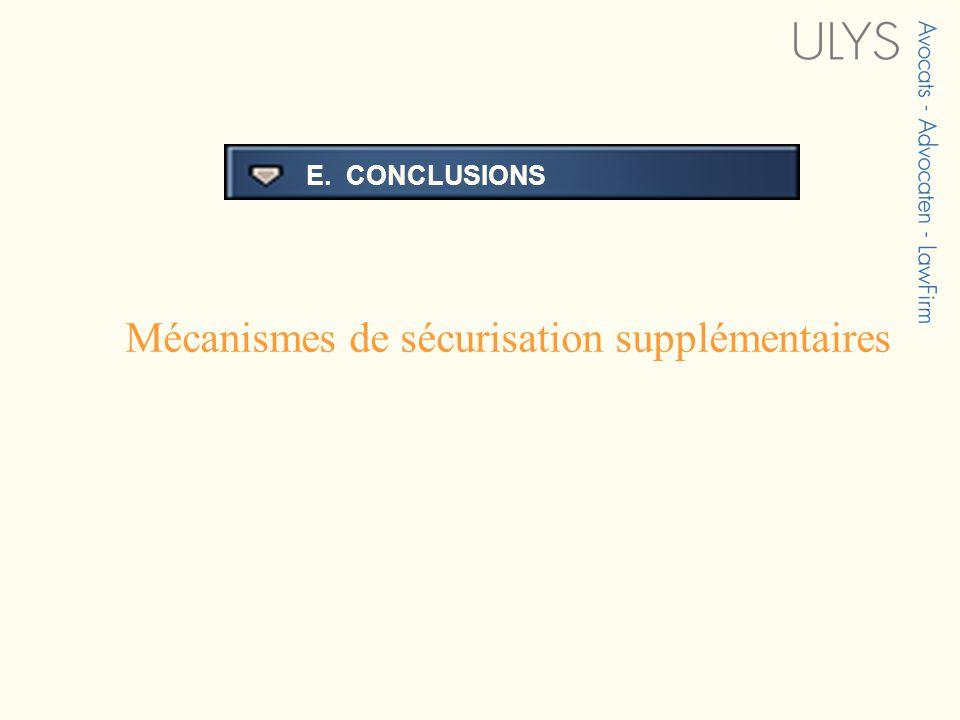 3 TITRE E. CONCLUSIONS Mécanismes de sécurisation supplémentaires