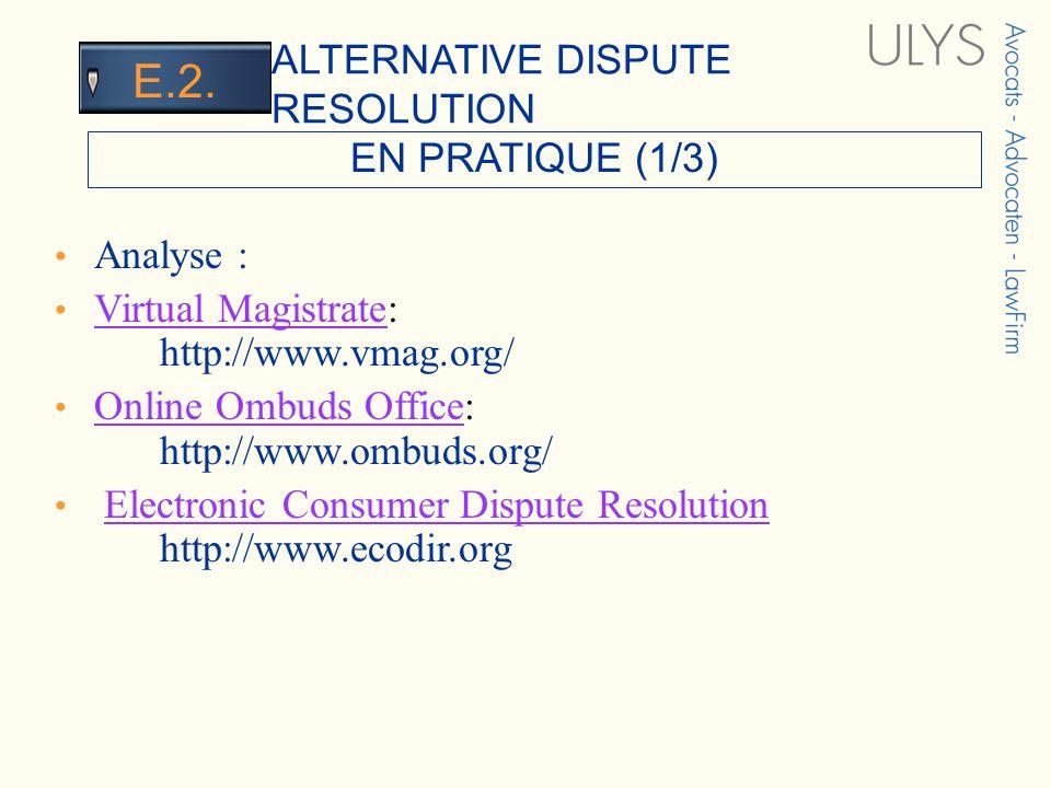 3 TITRE EN PRATIQUE (1/3) ALTERNATIVE DISPUTE RESOLUTION E.2.