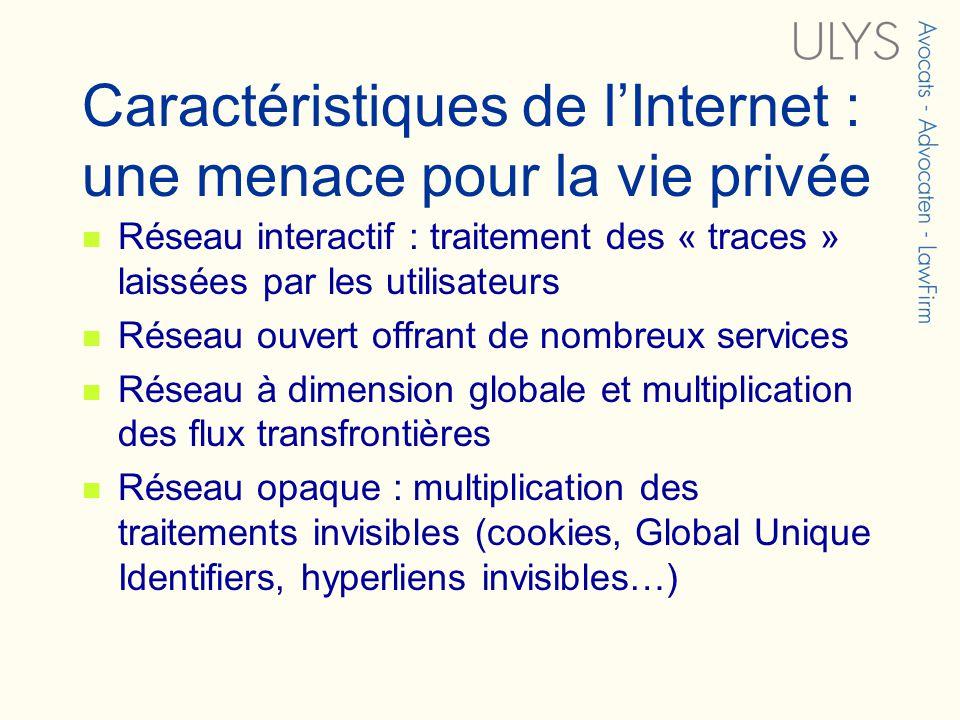 Caractéristiques de lInternet : une menace pour la vie privée Réseau interactif : traitement des « traces » laissées par les utilisateurs Réseau ouver