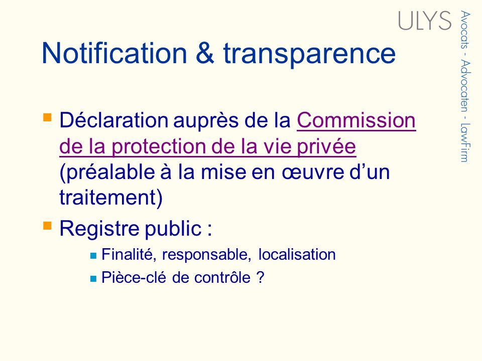 Notification & transparence Déclaration auprès de la Commission de la protection de la vie privée (préalable à la mise en œuvre dun traitement)Commission de la protection de la vie privée Registre public : Finalité, responsable, localisation Pièce-clé de contrôle ?