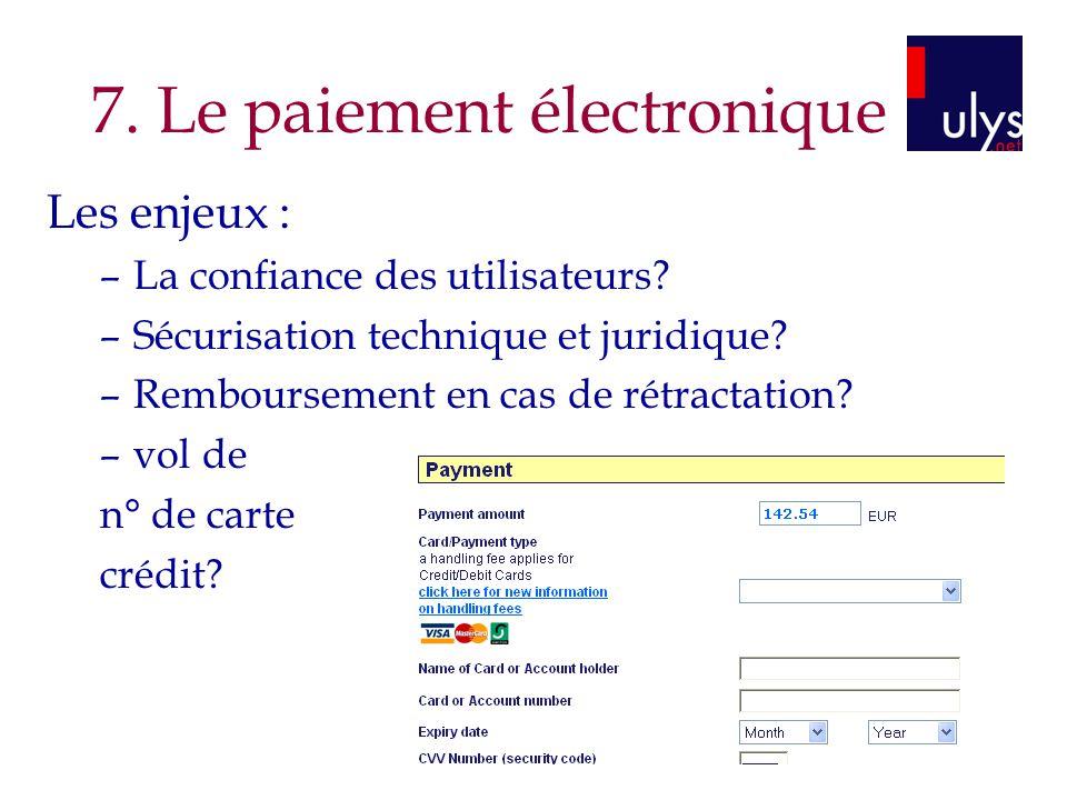 7.Le paiement électronique Les enjeux : –La confiance des utilisateurs.