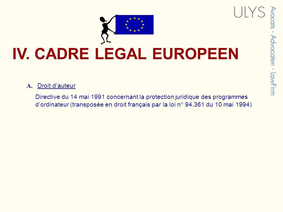 A. Droit dauteur Directive du 14 mai 1991 concernant la protection juridique des programmes dordinateur (transposée en droit français par la loi n° 94