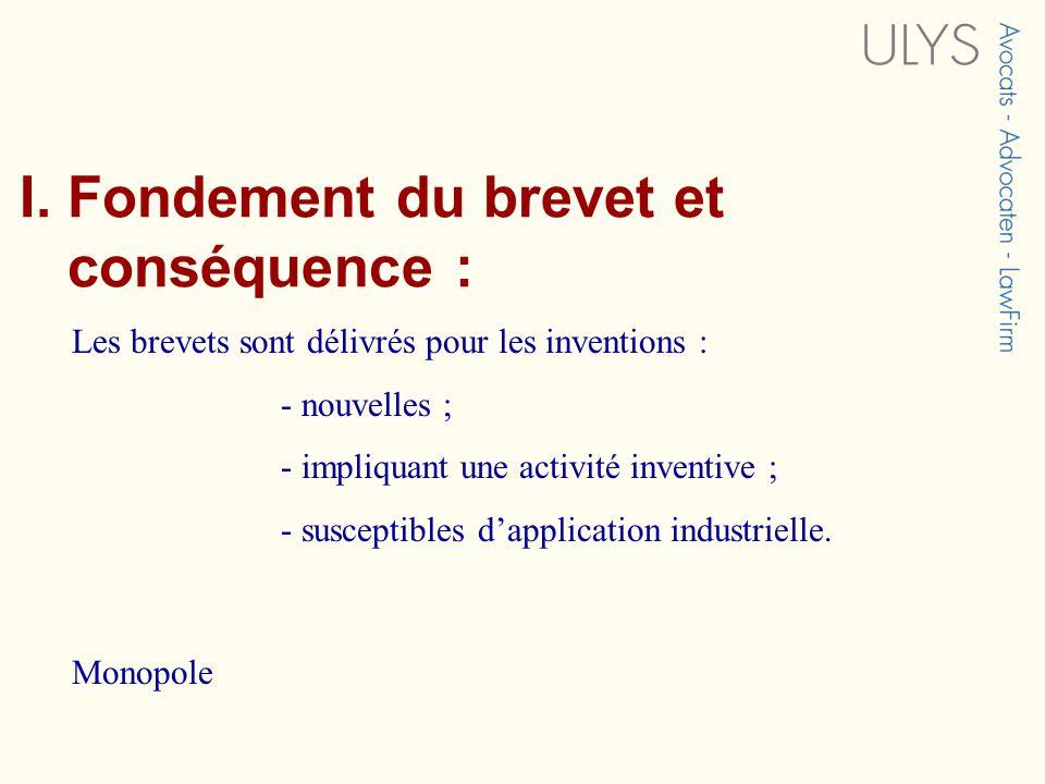 I. Fondement du brevet et conséquence : Les brevets sont délivrés pour les inventions : - nouvelles ; - impliquant une activité inventive ; - suscepti