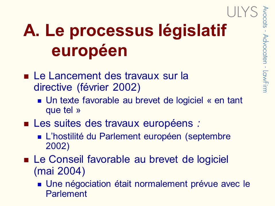 A. Le processus législatif européen Le Lancement des travaux sur la directive (février 2002) Un texte favorable au brevet de logiciel « en tant que te