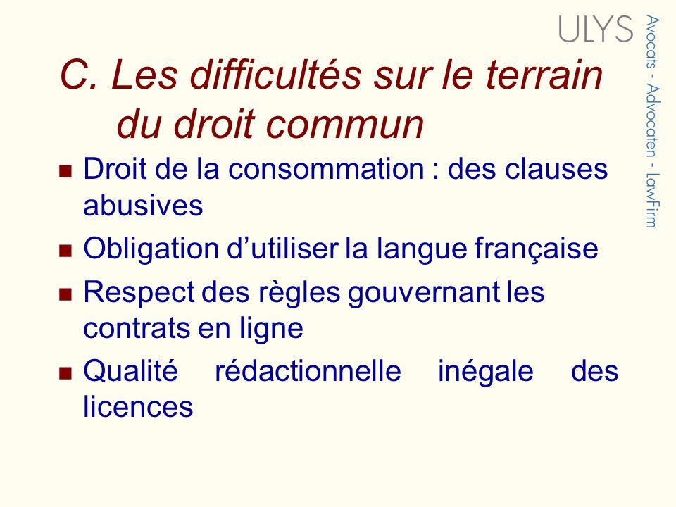 C. Les difficultés sur le terrain du droit commun Droit de la consommation : des clauses abusives Obligation dutiliser la langue française Respect des
